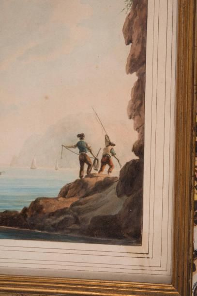 Antoine ROUX (1765-1835) Antoine ROUX (1765-1835)  Vue de bord de mer, 1831  Aquarelle...