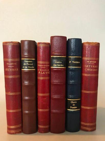 Lot de 5 volumes reliés cuir :  Oeuvres de...