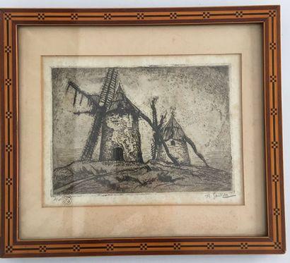 Roger GRILLON (1881-1938) Les moulins gravure...