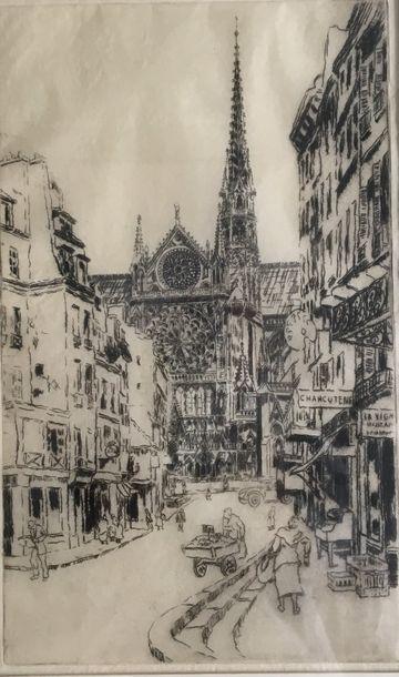 Ecole début XX°  La flèche de Notre Dame...