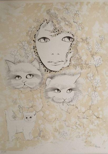 HEINE (Ecole XX°)  Portrait aux chats  Lithographie...