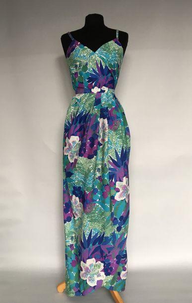 LANVIN Paris Robe longue en coton imprimé...