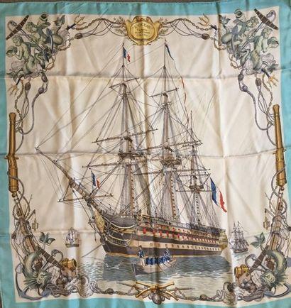 """HERMES Paris """"L' Océan vaisseau de 118 canons -1790-1845"""" par Ledoux carré en soie..."""
