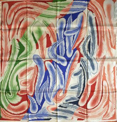 """HERMES Paris """"A la plume"""" par Florence Manlik - Carré 70 x 70 cm en soie bleu, vert..."""