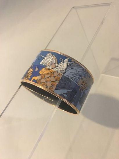 HERMES Paris Bracelet en métal doré émaillé...