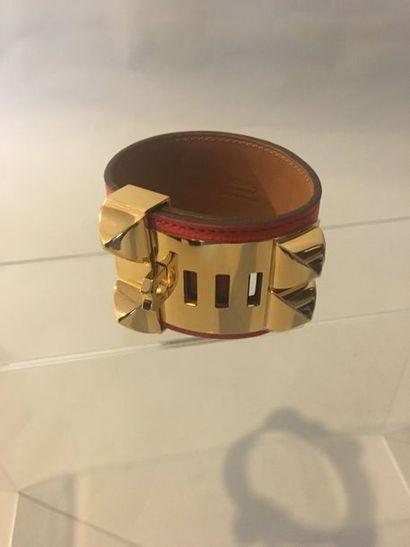 HERMES Bracelet collier de chien en cuir...