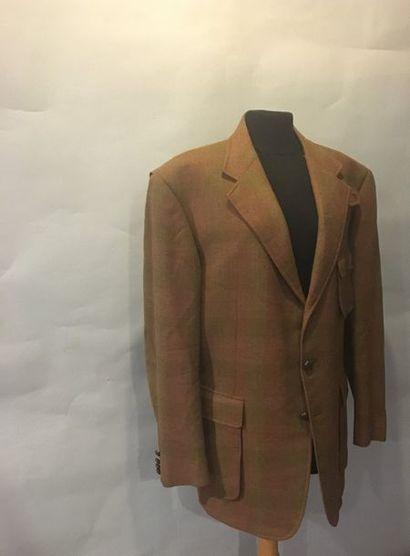 HERMES Paris Veste en lainage brun coudes...