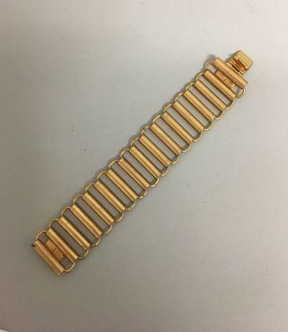 Bracelet à maillon rouleau en métal doré...