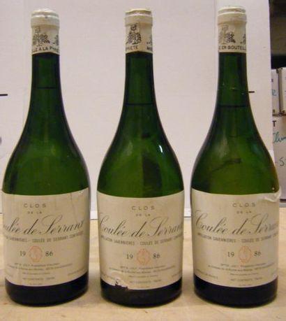 3 Bouteilles LA COULEE DE SERRANT 1986 Etiquettes...