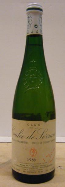 1 Bouteille LA COULEE DE SERRANT 1988 Etiquette...
