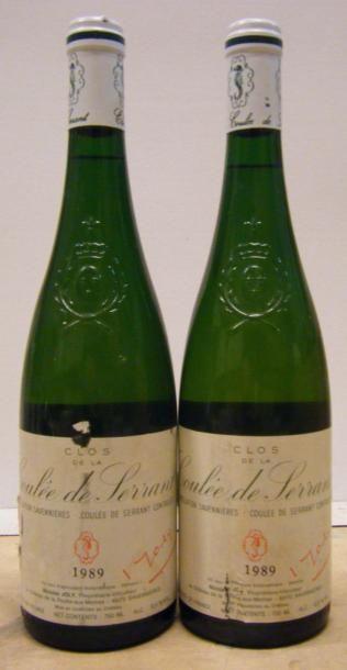 2 Bouteilles LA COULEE DE SERRANT 1989 Etiquettes...
