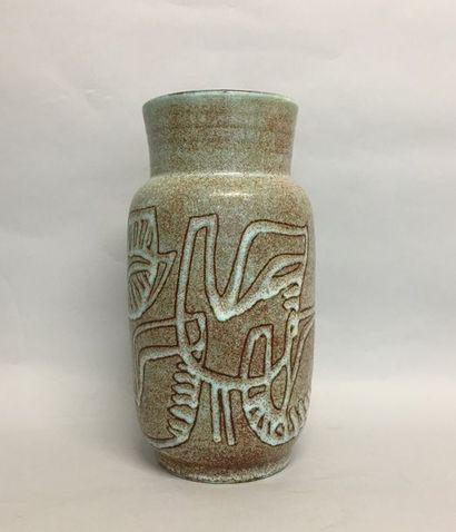 ACCOLAY Vase à épaulement en grès bleuté...
