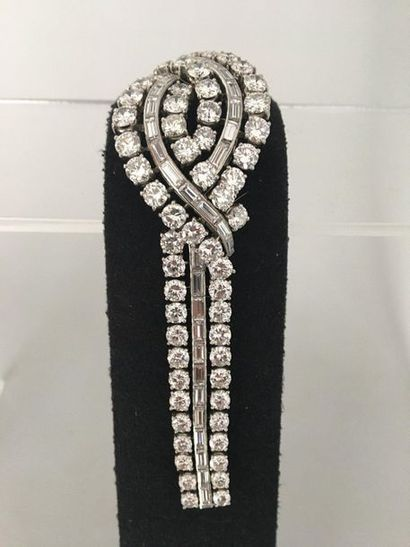 Bracelet ribbon with crossed pattern in platinum 950 thousandths and white gold...