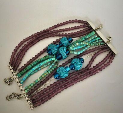 DIOR Bracelet multibrins à fermoir barette...