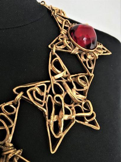 YVES SAINT LAURENT Collection entrelacs Collier collerette en métal doré à motifs...