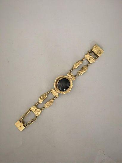 HENRY Bracelet gourmette en métal doré patiné...