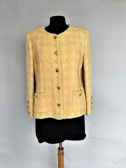 CHANEL Boutique Veste gansée en lainage jaune...