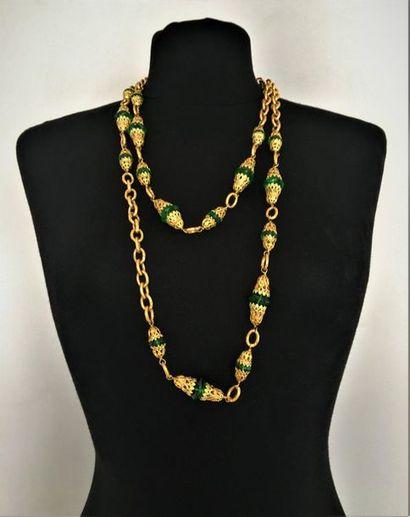 CHANEL Made in France 1988 Sautoir en métal doré maille olive orné de perles de...
