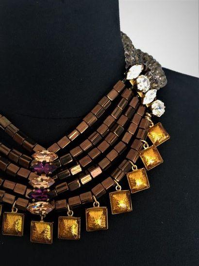 YVES SAINT LAURENT Rive Gauche Collier draperie de rangs de perles de verre fumé...