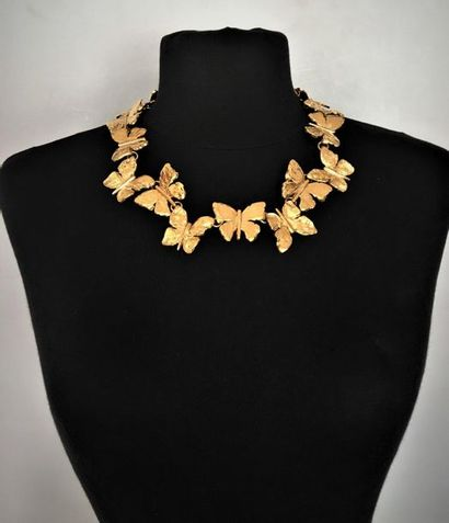 YVES SAINT LAURENT Collier papillons en métal...