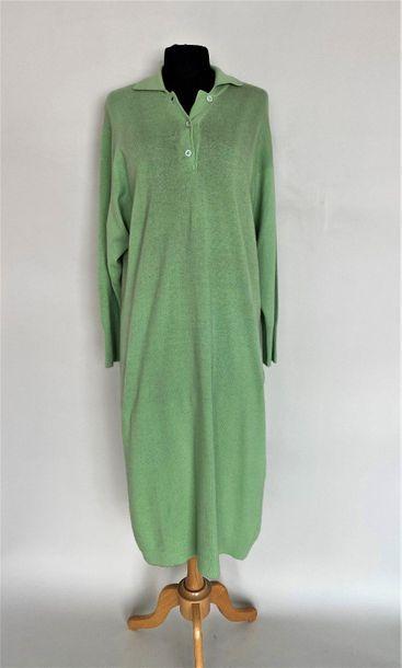 LANVIN Paris Almond green cashmere long dress Size 40