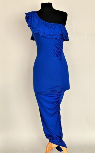 YVES SAINT LAURENT Electric blue silk and...