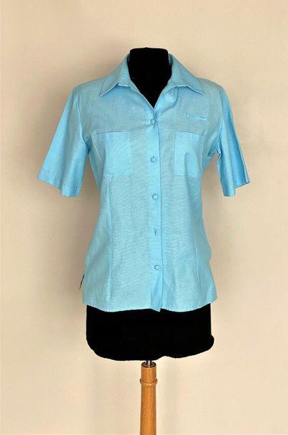 BALENCIAGA Sky blue cotton pique top Size...