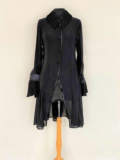 MONTANA Black silk crepe dress with ruffled...