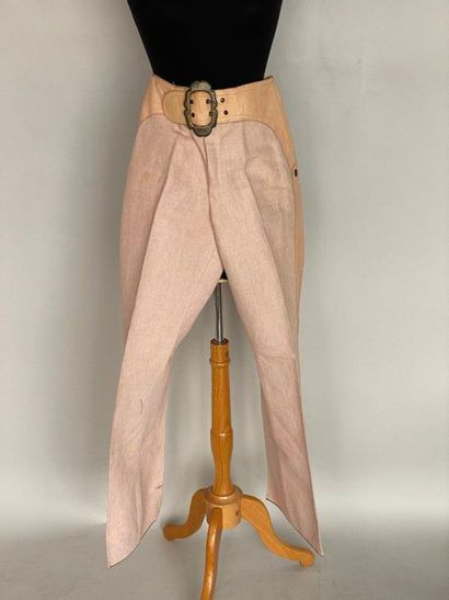 JOHN GALLIANO Linen and pink leather trousers...