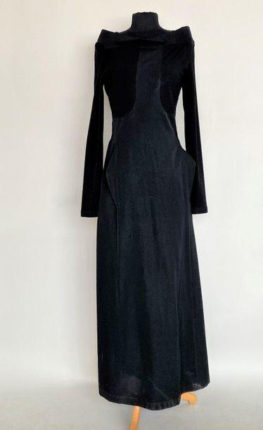 ISCHIKO Black crepe and jersey long dress...