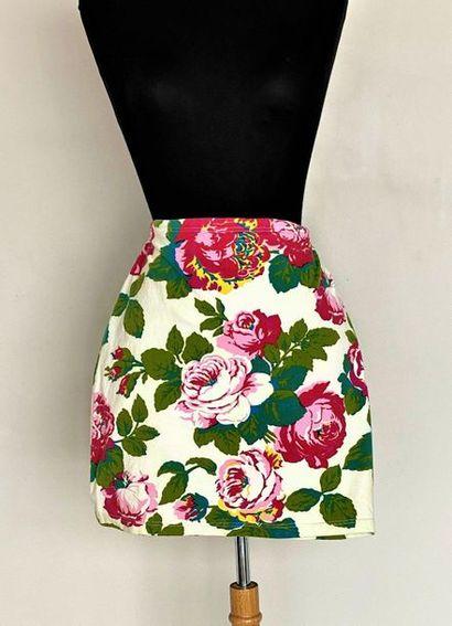 KENZO Orange cotton skirt printed with flowers...
