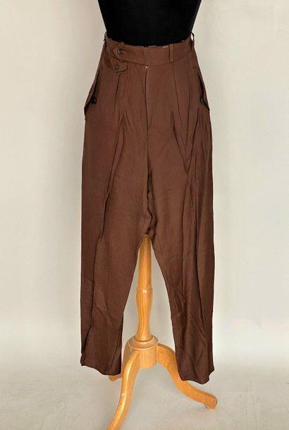 Y ' S YOHJI YAMAMOTO Chocolate rayon pants...
