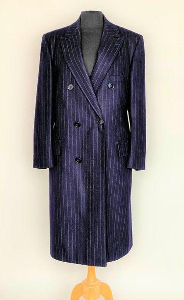 Men's cross-over coat in navy wool and fine...
