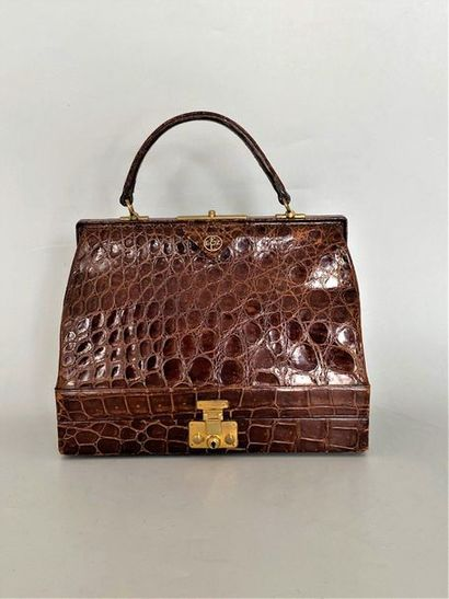 Fawn crocodile bag with toilet bag compartment...