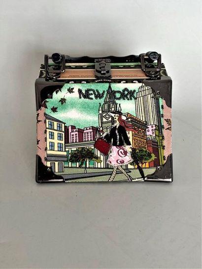 Sac trapèze New York en bois et tissu imprimé...