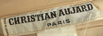 CHRISTIAN AUJARD Cream wool suit with gathered waist Size 38