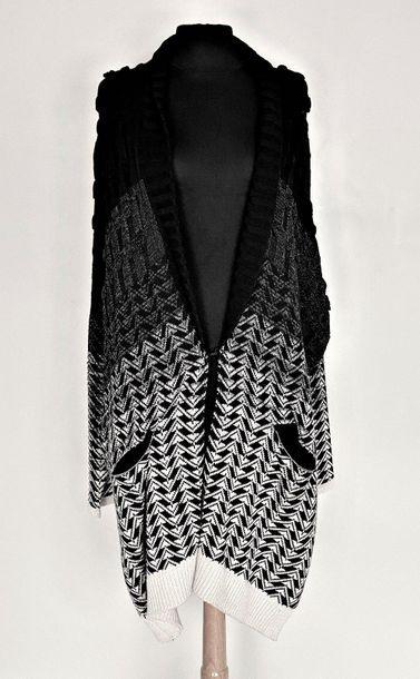 CHACOK Manteau en laine tricotée noir et blanc Taille XL