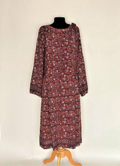 LANVIN Paris Robe en lainage à col noué imprimée...