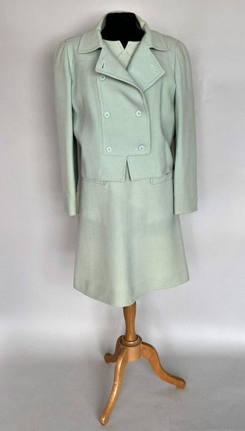 COURREGES Paris Set in almond green wool with martingale Short sleeves dress and...