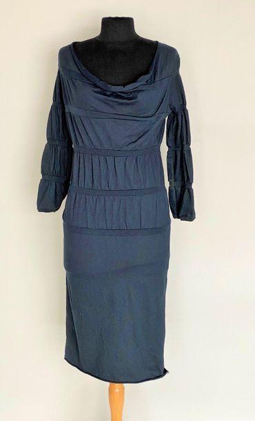 MARTIN MARGIELA 6 Black jersey striped cotton dress with yawning collar Size M