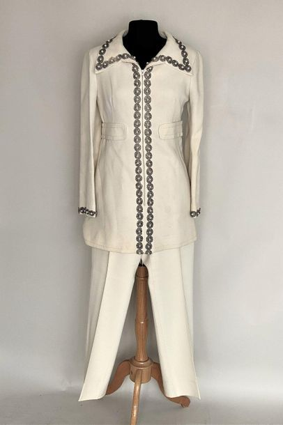 Ivory wool crepe trousers and long jacket set, embroidered with small sequins and...