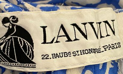 LANVIN Paris Blue and white silk crepe pleated long dress with cape effect Size...