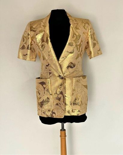 CHRISTIAN DIOR Boutique Gold lamé jacket with arabesques - gold metal and strass...