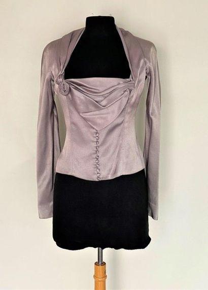 CHRISTIAN DIOR Boutique Paris Grey satin top with draped neckline Size 38  (2 buttons...