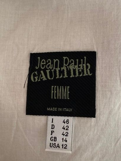 JEAN PAUL GAULTIER Blouse in silk and marron glacé linen with lace-up collar and...