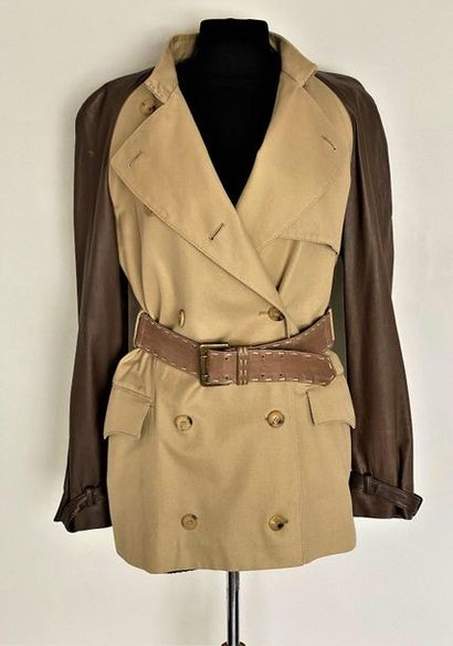 ALEXANDER McQUEEN Saharan jacket with beige canvas and marron glacé leather belt...