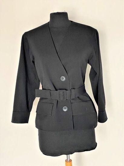 SAINT LAURENT LAURENT Rive Gauche Black wool crossover jacket with belt Size 36...