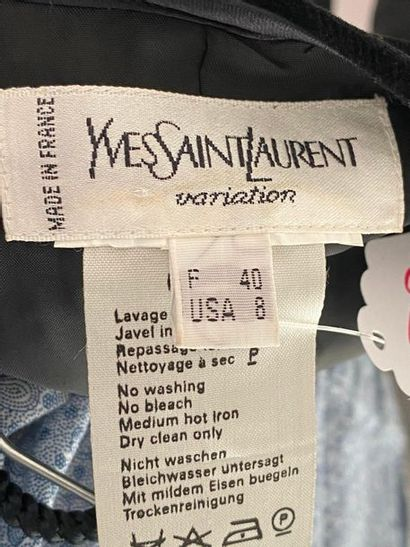 YVES SAINT LAURENT Variation Black velvet and satin lace-up top Size 40