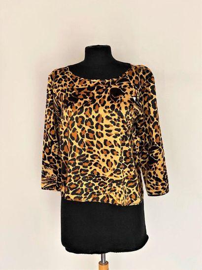SAINT LAURENT Rive Gauche Silk top with panther print Size 40