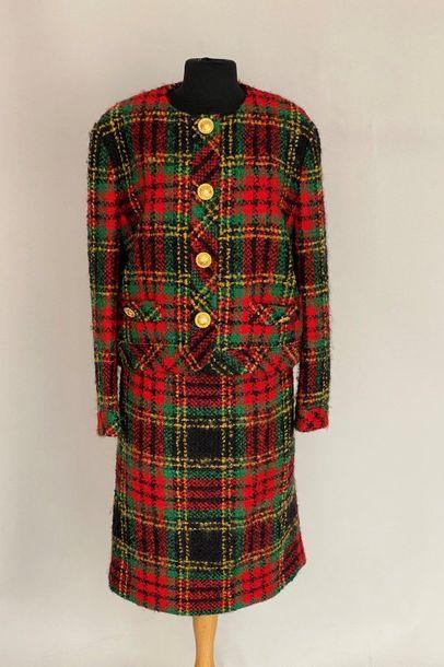 CELINE Tailleur en lainage à carreaux boutons...